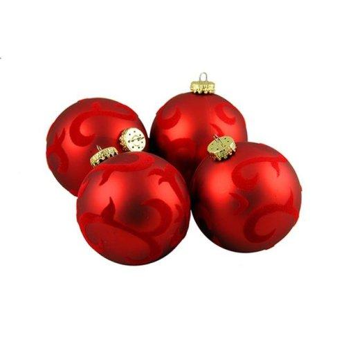 Northlight Seasonal 30889549 Red Flocked Flourish Shatterproof Christmas Ball Ornaments