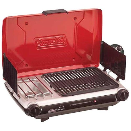 Coleman C4M-2000020925 2 Burner Grill Stove Combo, Red & Black