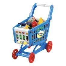 deAO Childrens Shopping Trolley Basket for Toy Shop Kitchen Over 80pcs Play Food Role Play