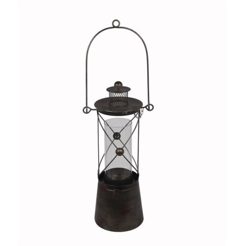 Privilege 88134 7 x 7 x 22 in. Metal Lantern, Black - Small