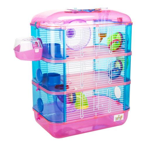 Lazy Bones Pink 3-Storey Hamster Cage | 3-Tier Hamster House