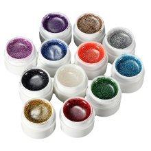12 Mix Colors Nail Art False French Glitter UV Gel Builder Polish Set
