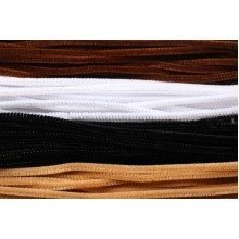 100 Black White Brown And Flesh Pipe Cleaners 30cm x 6mm