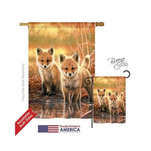 Breeze Decor 10086 Wildlife & Lodge Foxes 2-Sided Vertical Impression House Flag - 28 x 40 in.