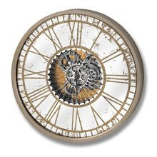 Mirrored Round Clock With Moving Mechanism - Ideal Any Room Home -  mirrored round clock moving mechanism ideal any room home