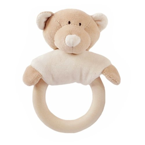 Wooly Organic Soft Toy Rattle with Wooden Teether Teddy
