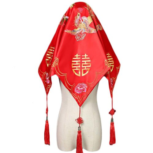 Traditional Chinese Wedding Bridal Veil Red Head Scarf A16