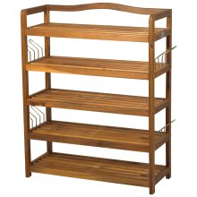 HOMCOM Acacia Wood 5-Tier Shoe Storage Rack Hallway Organiser Shelf with 4 Hangers Teak Colour (64L x 26W x 82H cm)