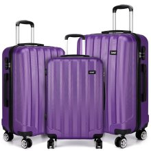 KONO Luggage Suitcase Trolley Case Travel Bag 4 Wheels Spinner Hard Shell ABS Purple 20 24 28 Inch Set
