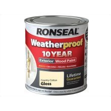 Ronseal 10 Year Weatherproof Exterior Wood Paint 750ml -  GLOSS Country Cotton