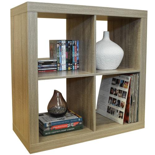 CUBE - 4 Cubby Square Display Shelves / Vinyl LP Record Storage - Limed Oak