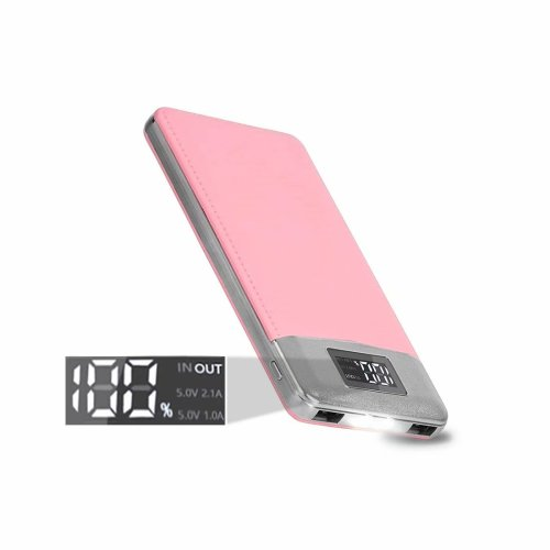 ARIO®16000mAh PU Leather Case PowerBank for all mobile phones (pink)