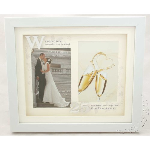 25th Anniversary White Double Photo Frame from Juliana's Impressions range