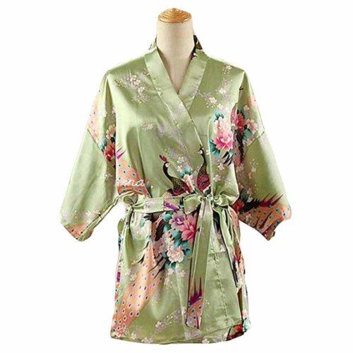Pea Green- Women s Silk-like Pajamas Short Bathrobe Kimono Robe  Peacock Blossoms on OnBuy fb9800cad
