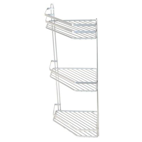 3-Tier Silver Wall-Mounted Shower Caddy | Rustproof Corner Shower Basket