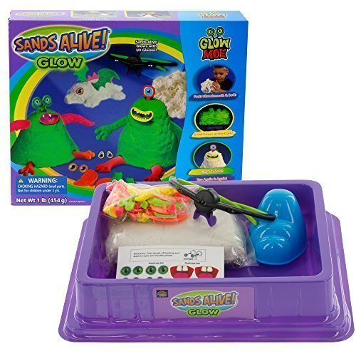 Sands Alive Play Sand Deluxe Monster Set Glow In The Dark Sand with UV Light Pen Glasses Molds and Playmat 1 lb