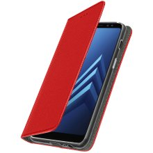 Slim Case flip book cover stand wallet case for Samsung Galaxy A8 2018 - Red