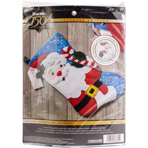 "Bucilla Felt Stocking Applique Kit 18"" Long-Hello Santa"