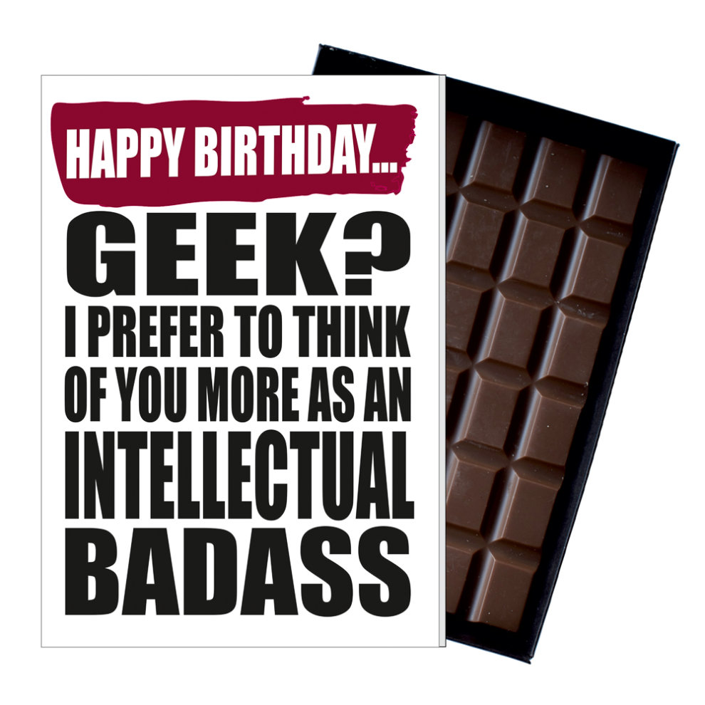 Funny Birthday Gift Geek Nerd Chocolate Greetings Card Present Dorks Techies