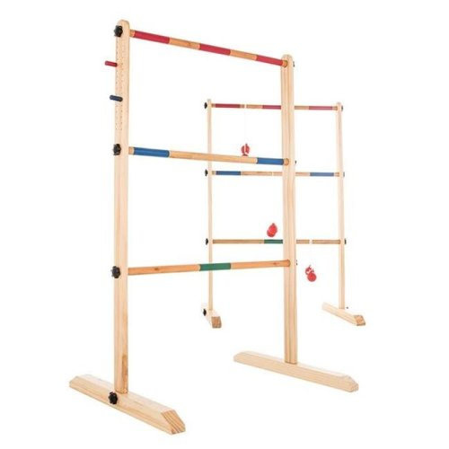 Hey Play 80-ZS-002 Wooden Outdoor Ladder Toss Game Set with 6 Bolas & Storage Bag