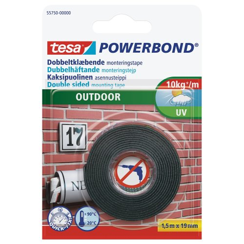 tesa UK Powerbond Double Sided Adhesive Tape for Outdoors Use 1.5 m x 19 mm