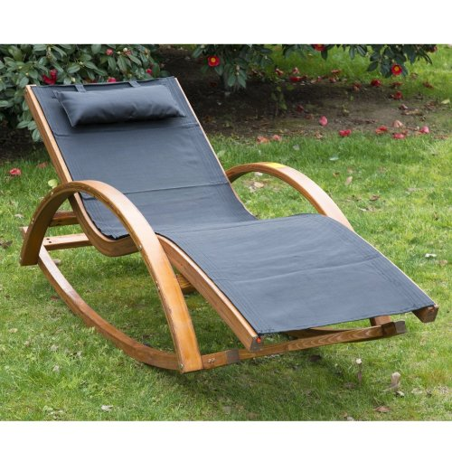 Outsunny Outdoor Rocking Chair | Pine Wood Recliner with Black Cushion