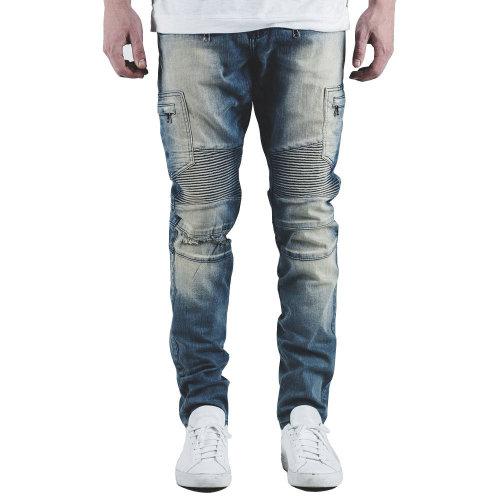 Embellish Holmes Biker Denim Jeans Stone Wash