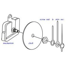 Clock Hands - 64mm Hour Hand & 94mm Minute Hand With Seconds Hand