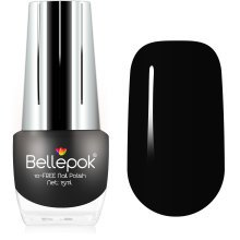 Bellepok 10-FREE Nail Polish - Black Velvet | Non-Toxic Black Nail Varnish