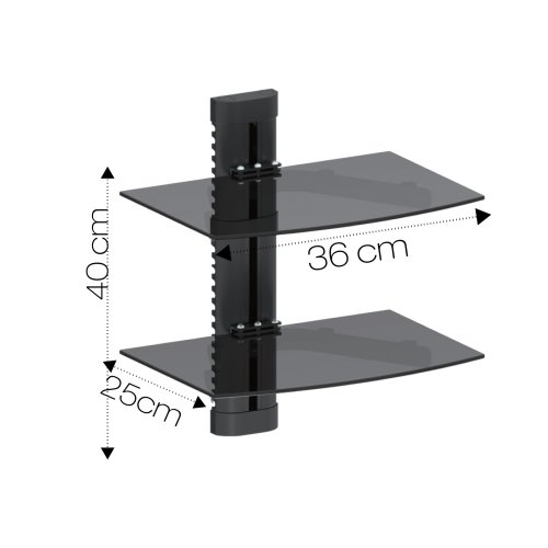 Black Double Two Floating Glass Shelf Wall Mount Bracket Stand Dvd Sky Console