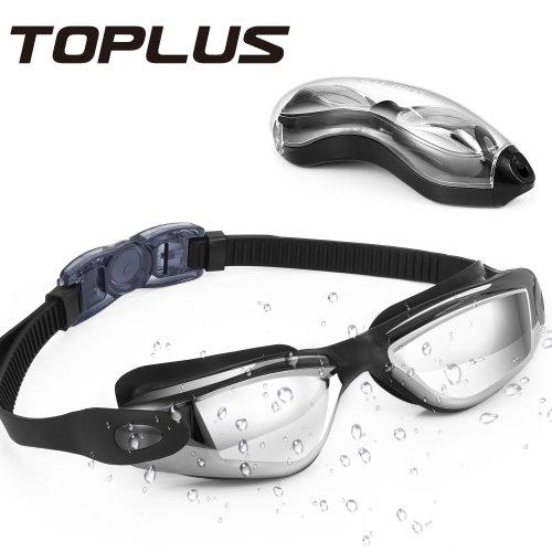SwimmingGoggles TOPLUS, Swimming Goggles Adult No Leaking Anti Fog UV Protection Swimming Goggles for Men, Women, Junior, Kids (Black)