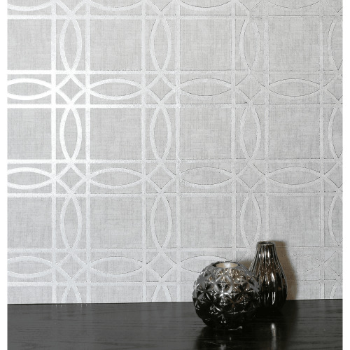 Arthouse Geometric Trellis Metallic Geo Square Foil Non-Woven Flat Surface Wallpaper 903203