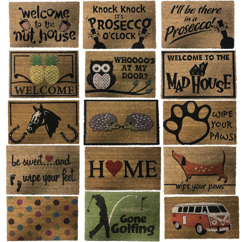 Natural Coir Rubber Back Non Slip Doormat Floor Entrance Door Mat Indoor Outdoor