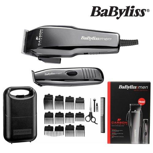 BaByliss 7446BGU Mains Carbon Titanium Hair Clipper & Battery Operated Trimmer