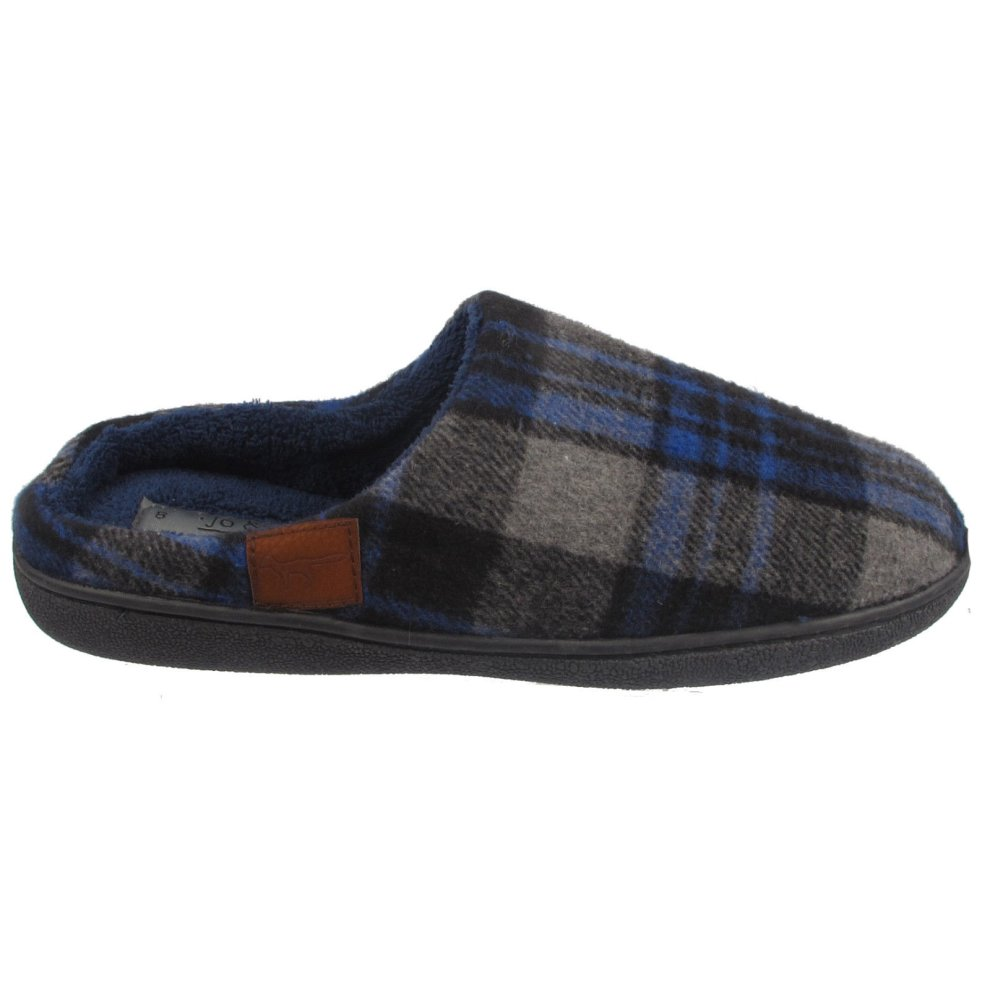 02fa8d3478ad Mens Check Print Slippers Fur Lined Mules on OnBuy