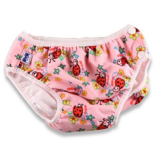 Pink Ladybug Toddle Cute Baby Swim Diaper Swim Brief Swim Pant, L Size