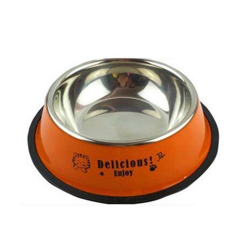 Little Stainless Steel Bowl Set Feeding Pot/Pet Bowl/Dog Bowl/Cat Bowl For Food & Water M Size (Orange)
