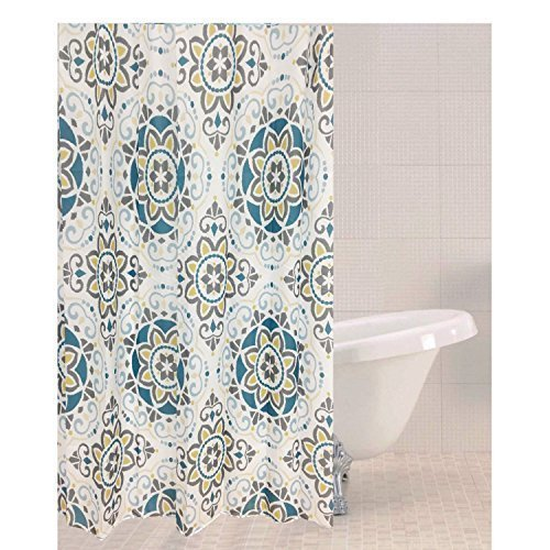 Sabichi Sintra Tile Polyester Shower Curtain - Hooks 180cm Modern Luxury New -  shower polyester curtain sabichi sintra tile hooks 180cm modern