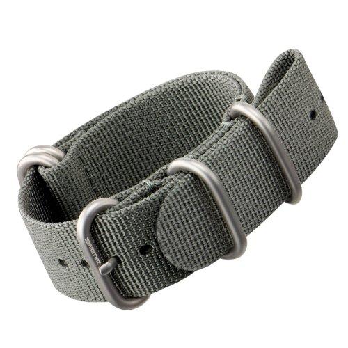 Nylon Watch Strap by ZULUDIVER®, Brushed ZULU Buckles, Grey, 20mm