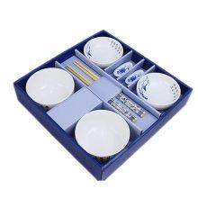 Wedding Business Gift Home Porcelain Tableware Set Bowl/Dish/Chopsticks 8PCS-Peony