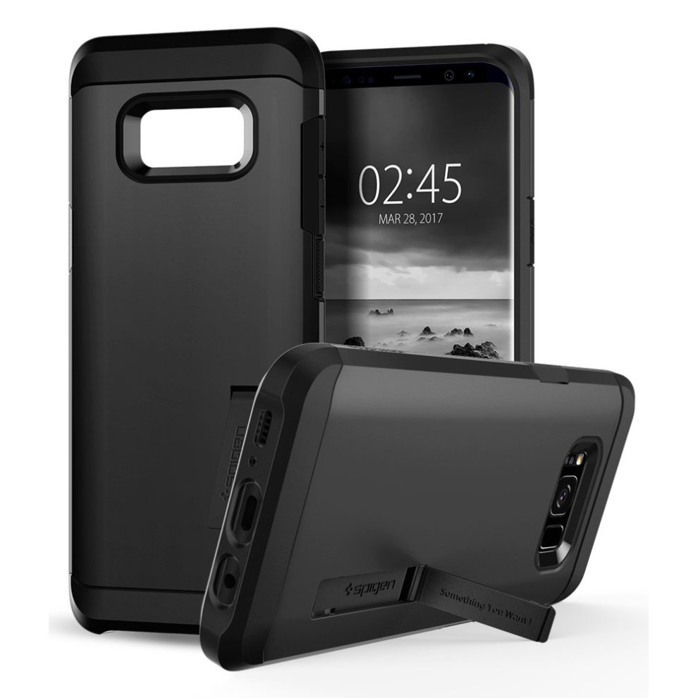 official photos 9d24f ecfd3 Spigen Tough Armor Galaxy S8 Case with Kickstand and Extreme Heavy Duty  Protection and Air Cushion Technology for Samsung Galaxy S8 (2017) - Black