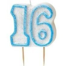 Age 16 Birthday Candle Blue Glitz
