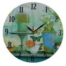 Obique Home Decoration MDF Flowers and Butterflies 34cm Wall Clock