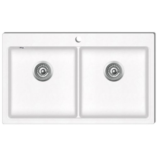 Overmount Kitchen Sink Double Basin Granite Cream White