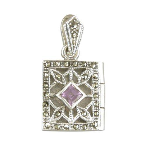 Sterling Silver Amethyst & Marcasite Oblong Book Locket On A Snake Necklace