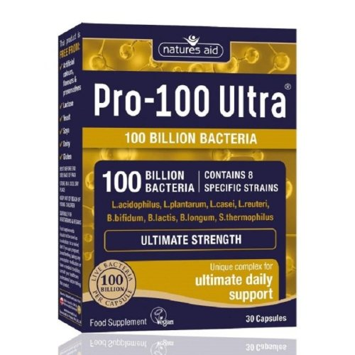 Natures Aid Pro-100 Ultra 100 Billion Bacteria Ultimate Strength - 30 Capsules