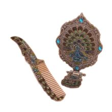 Retro Painted Peacock Vintage Metal Mirror And Comb Set, Silver