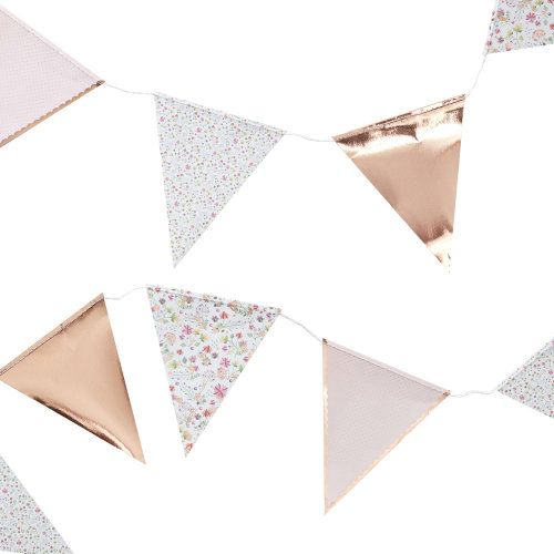Floral Ditsy Bunting with Rose Gold Polka Dot 3.5m Wedding Party