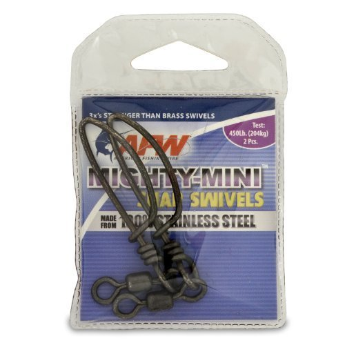 American Fishing Wire Mighty Mini Snap Swivels (100-Percent Stainless Steel), Black Color, Size 2/0, 450 Pound Test, 2-Pieces