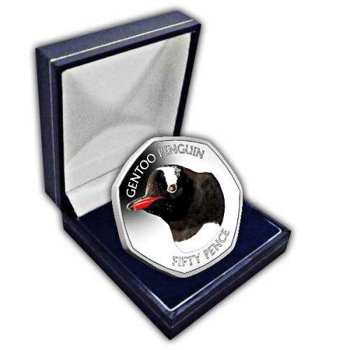 Falkland Islands 2018 Gentoo Penguin 50p Cupro Nickel Coin in a box